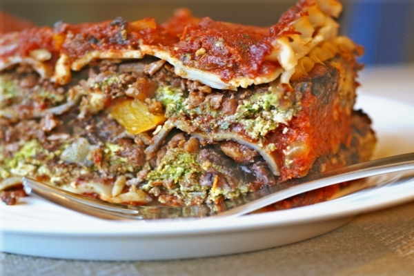 health fake vegan meat lasagne
