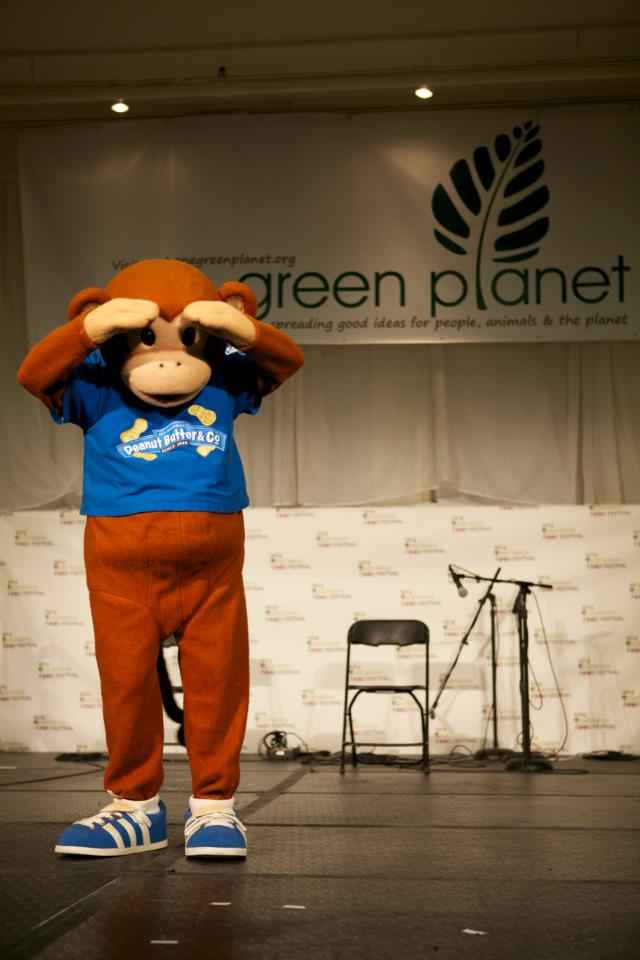 Peanut Butter and Jelly Co. Monkey on the One Green Planet stage