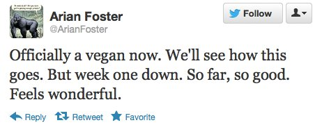 Arian Foster vegan tweet