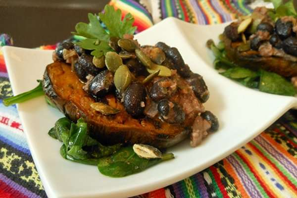 Black Bean and Pecan Butter Sauce Over Grilled Eggplant and SautéedSpinach