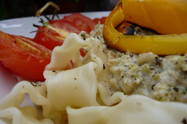 Recipe: Pine Nut and Broccoli Cream Reginette with Chargrilled Peppers