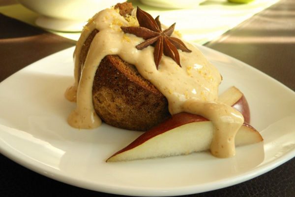 Classic Vegan Gingerbread Bundt Cake with Cinnamon-Molasses Lemon Cream and Fresh Pears