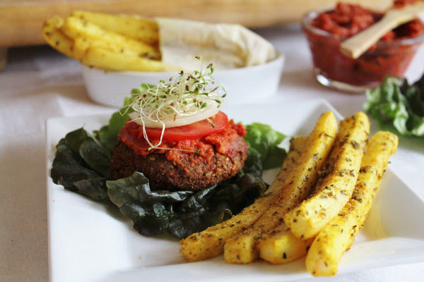 Recipe: Raw Yam Burgers and Daikon Fries with Ketchup