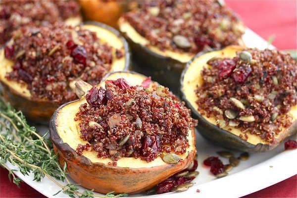 Roasted Acorn Squash with Quinoa Pilaf
