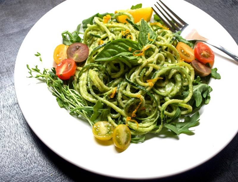 Raw Zucchini Pasta with Creamy Avocado-Cucumber Sauce