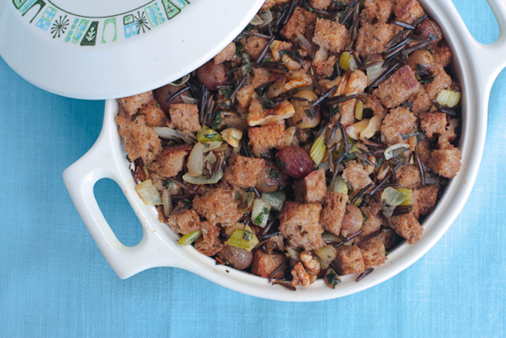 Wild Rice and Bread Stuffing with Roasted Grapes