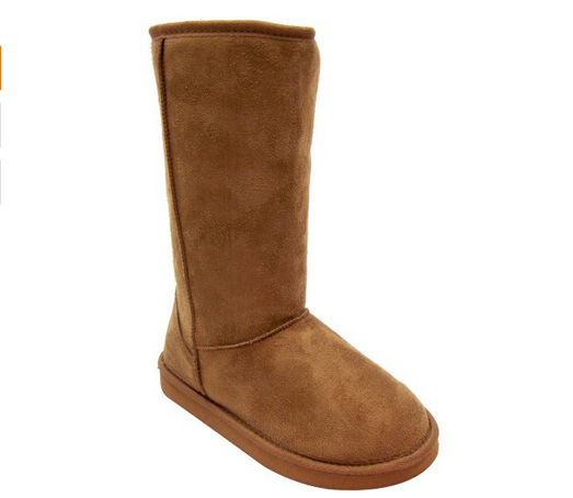 Classic Camel Faux Shearling Vegan Boots