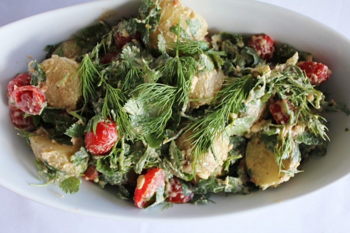 Vegan Potato Salad with Ciltantro, Dill, Tomatoes, and Raw Mayo