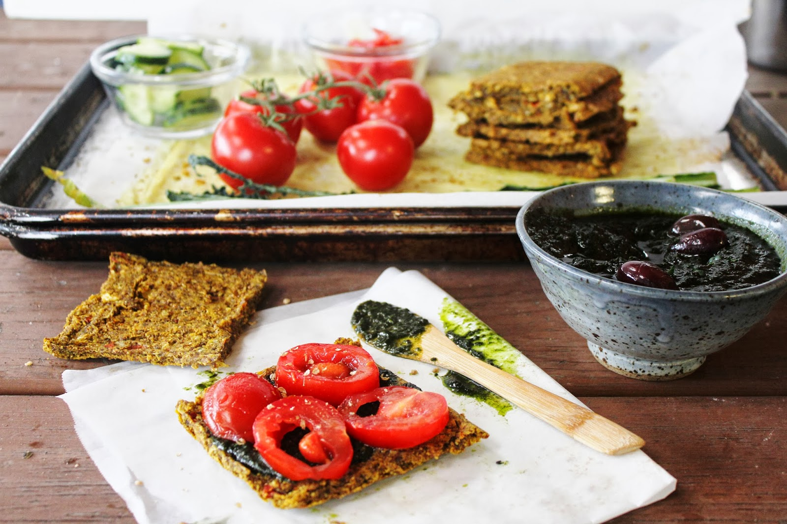 TOMATO CUCUMBER SANDWICH on ONION & CORN BREAD with OLIVE & KALE TAPENADE