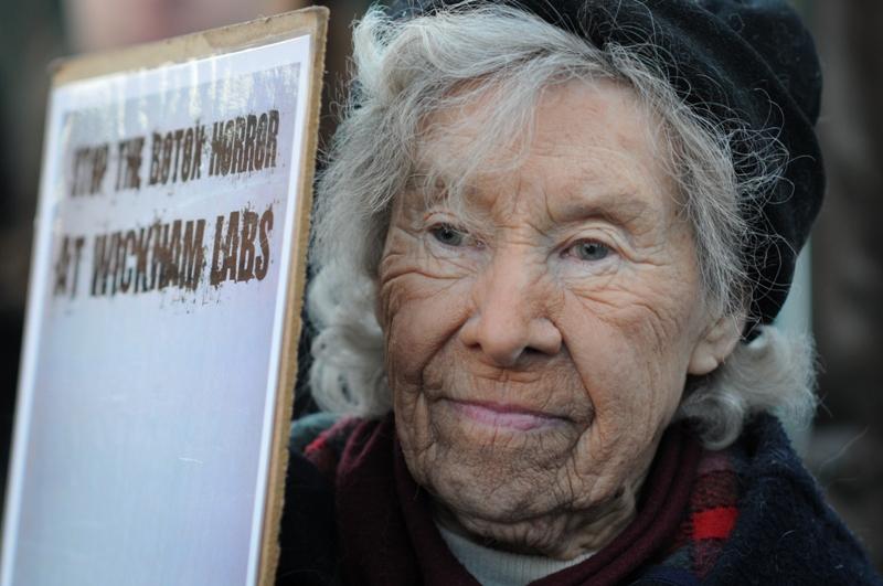 Vivisection Activist Helen Nelson, Stop Wickham Animal Testing, Wickham, UK , 2011