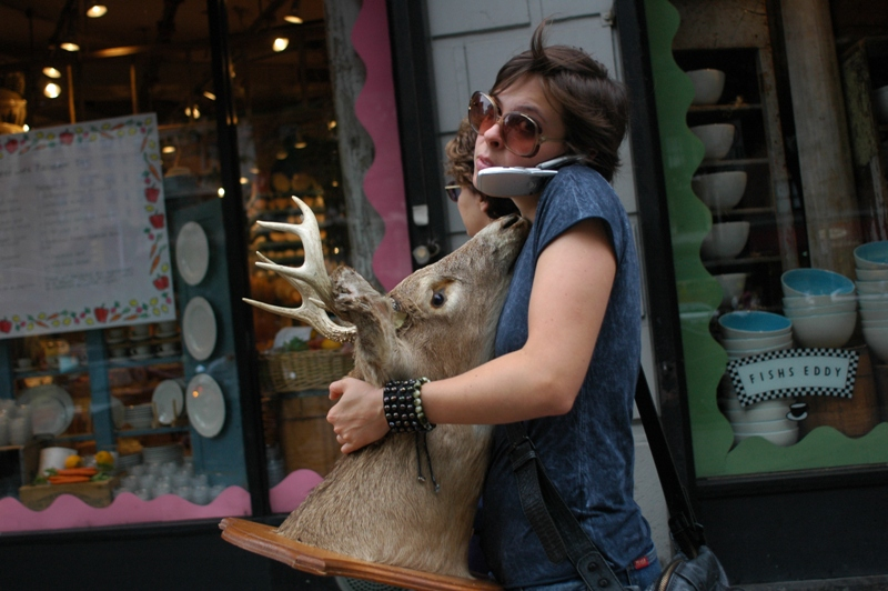 Woman with a deer head, New York City, 2005