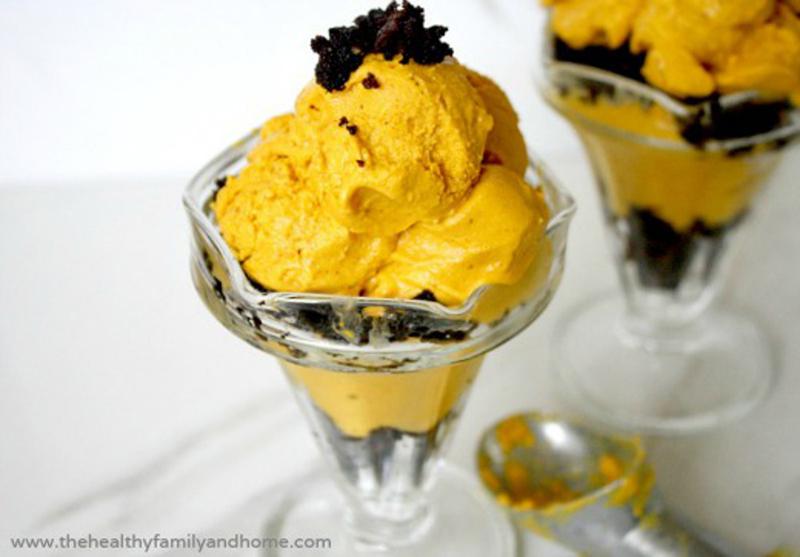 Pumpkin Ice Cream and Brownie Parfait