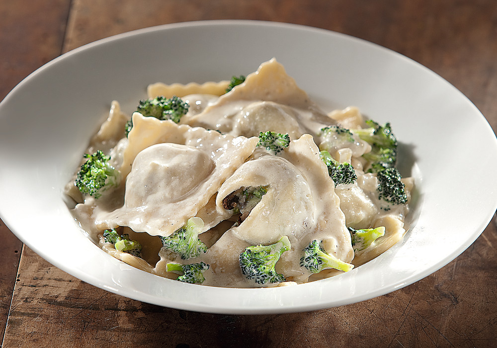 Potatoes and Porchini Mushroom Ravioli in Broccoli Cream Sauce