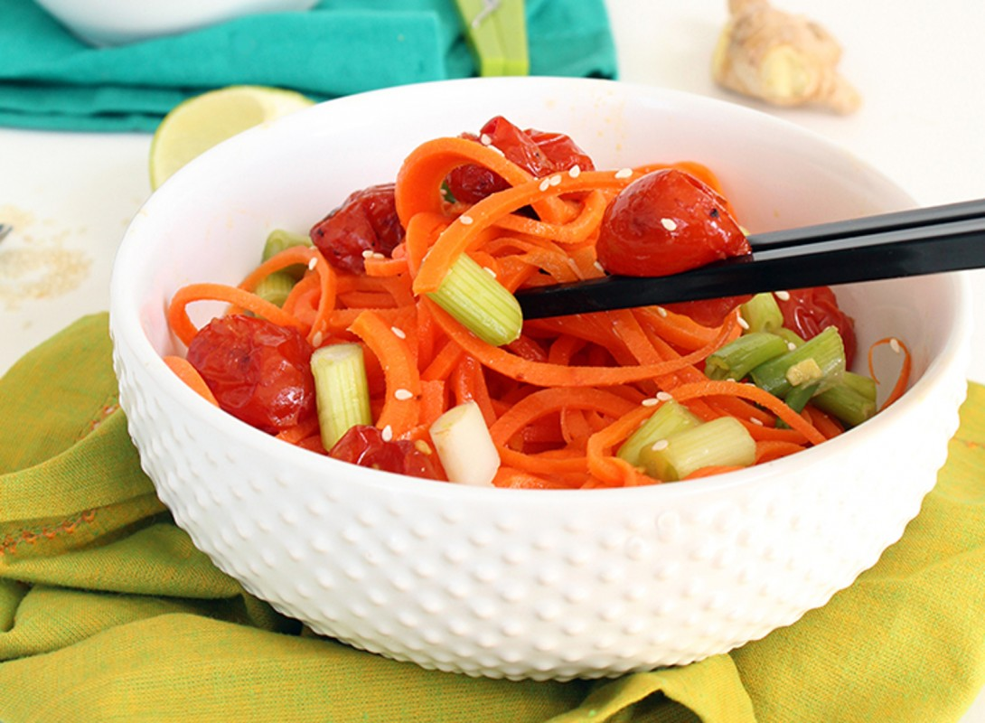 Miso Roasted Tomatoes and Spiralized Carrot Noodles