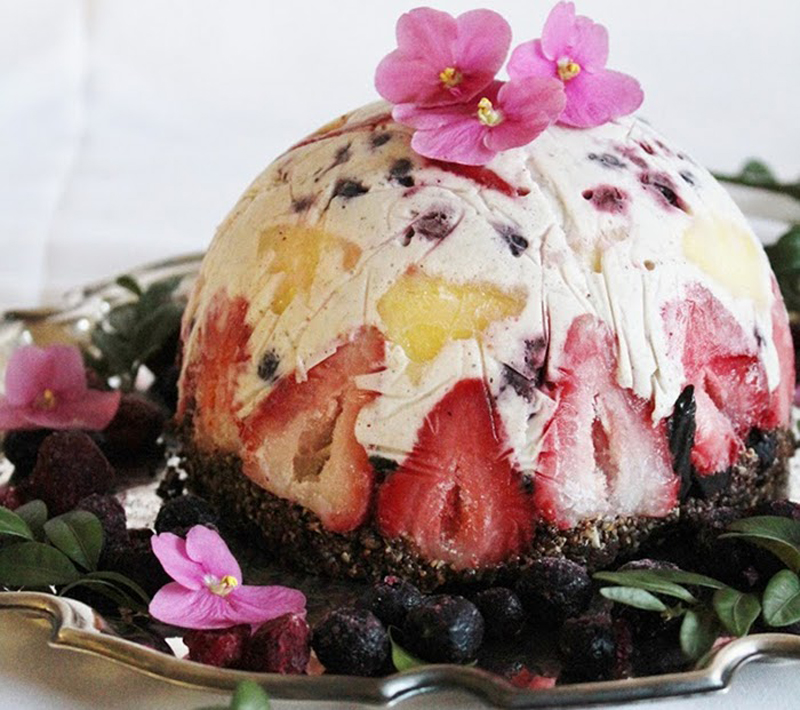 Fruit and Coconut Ice Cream Raw vegan Cake With Brownie Crust
