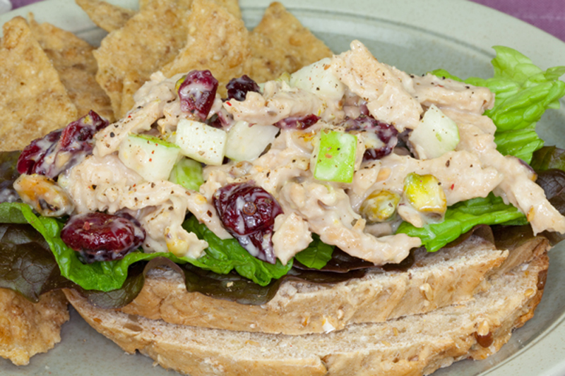 Vegan Chick'n Salad With Cranberries and Pistachios