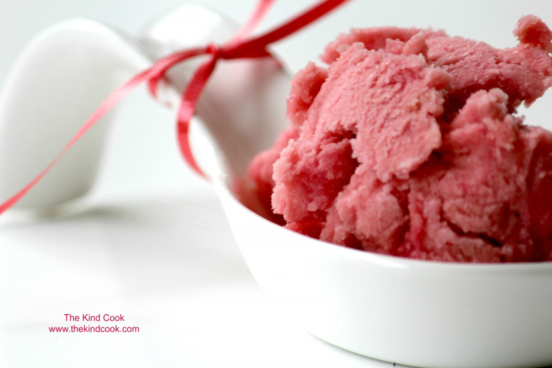 Rhubarb rosewater lime sorbet