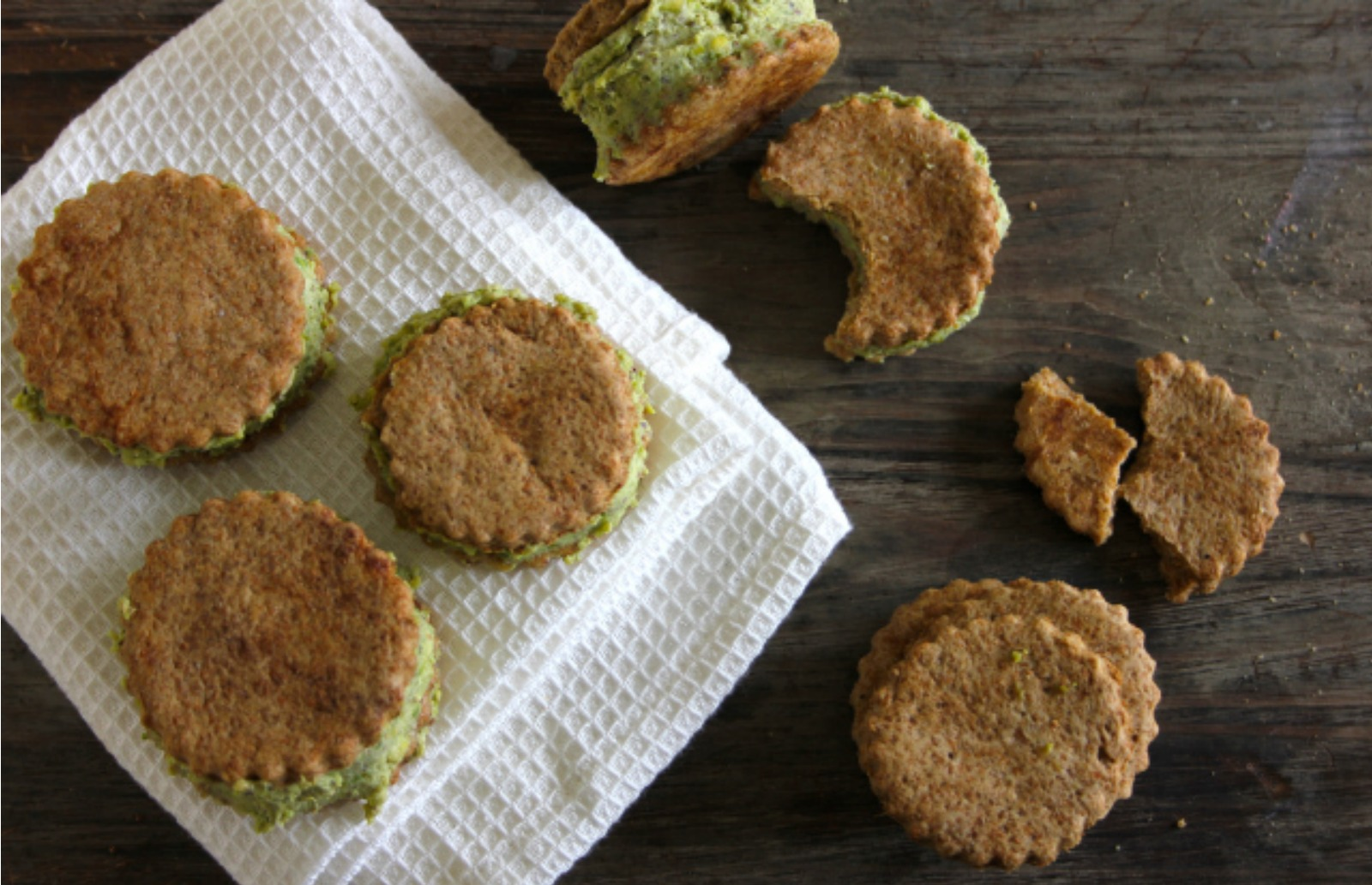 Ice Cream Sandwiches: Espresso Biscuits With Pistachio Ice Cream [Vegan, Sugar-Free]