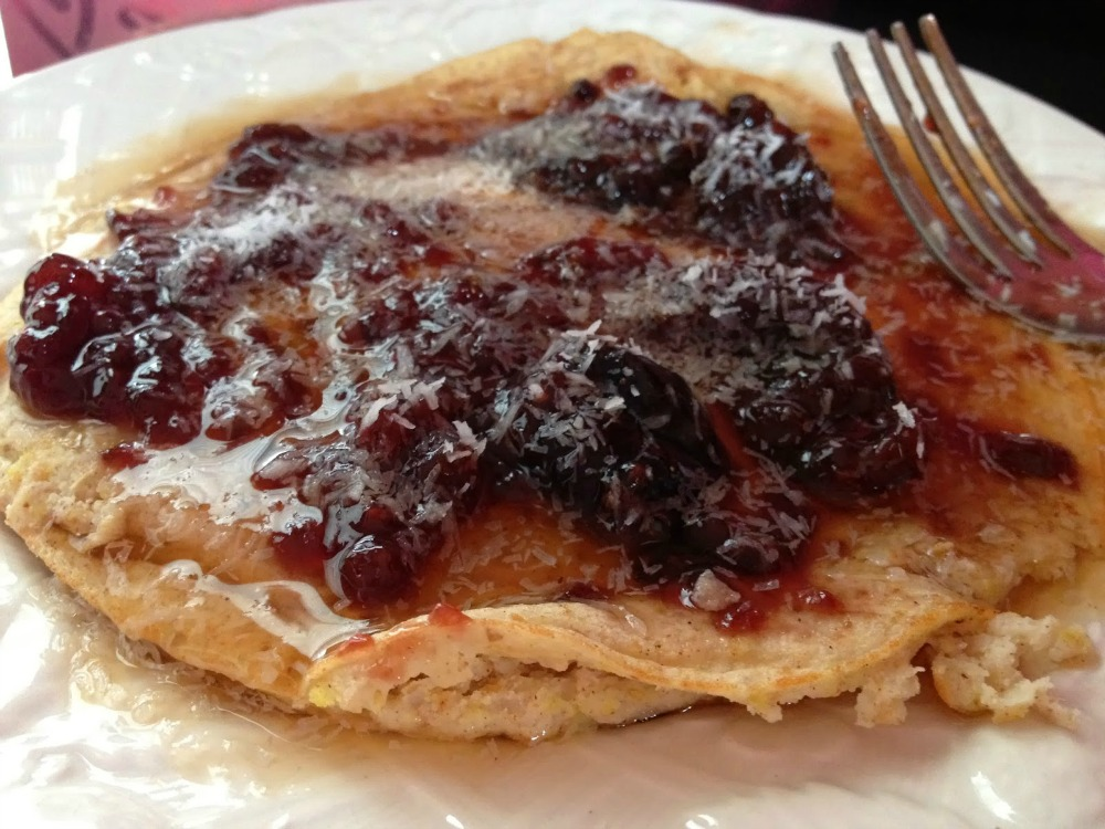 Coconut Pancakes with Blueberry Jam