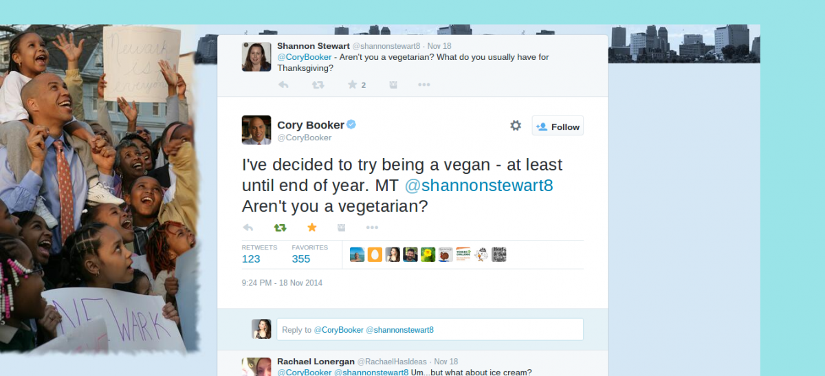 Cory Booker on Twitter   I ve decided to try being a vegan   at least until end of year. MT  shannonstewart8 Aren t you a vegetarian