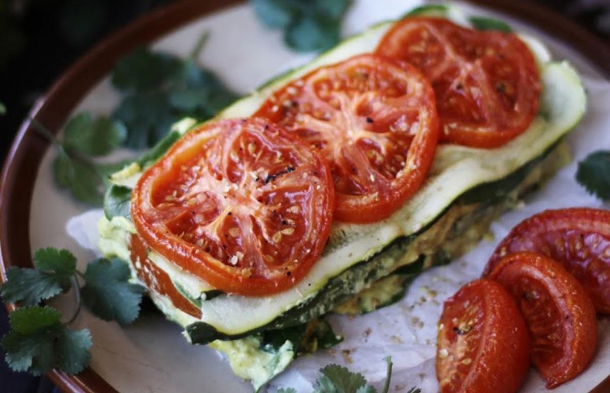 Zucchini and Tomato Lasagna With Cashew Herb Cheese [Raw]