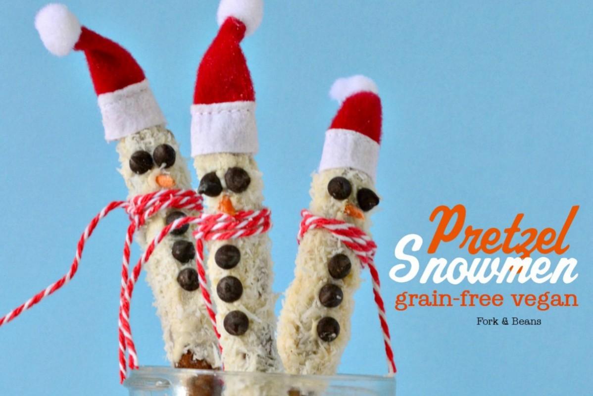 Pretzel Stick Snowmen [Vegan, Gluten-Free]