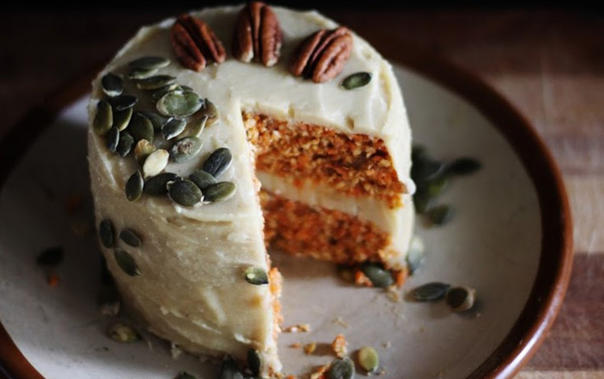 Carrot Cake With Creamy Cashew Lemon Frosting