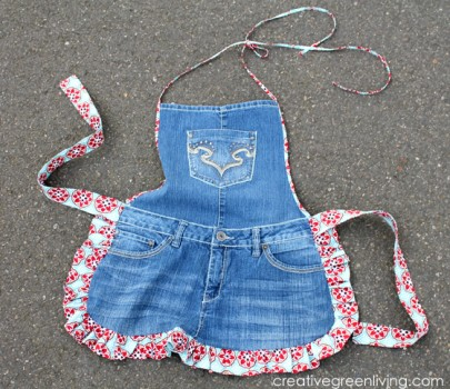 farm girl apron from upcycled old jeans