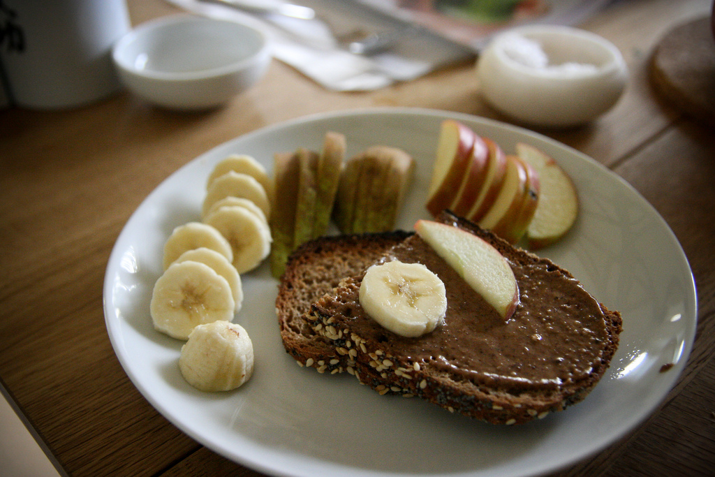 Almond butter on toast with fresh fruit
