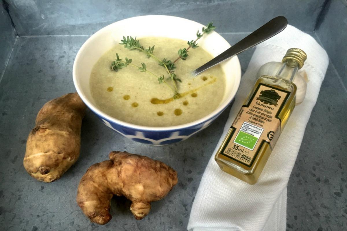 Jerusalem Artichoke Soup With Truffle Oil [Vegan, Gluten-Free]