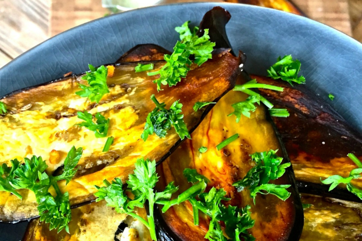 Aubergine Slices With Tahini Cumin Sauce [Vegan]