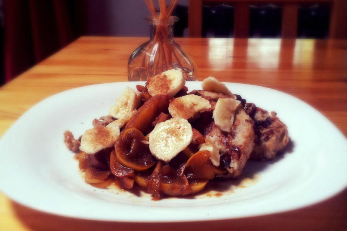 Banana French Toast with Cinnamon Apples [Vegan]