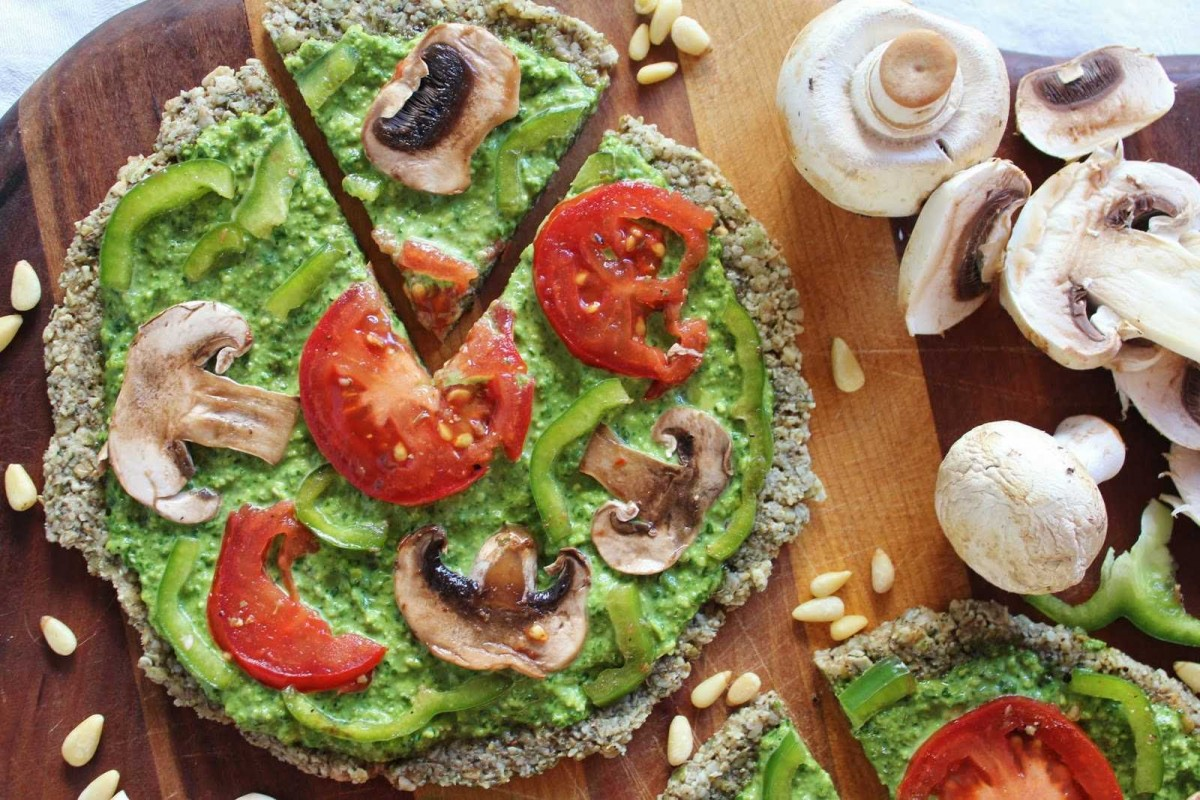 Raw Pizza with Spinach, Pesto, and Marinated Vegetables