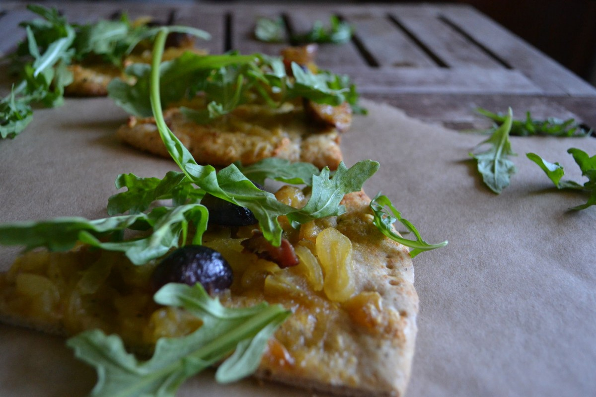 Whole Wheat Pizza with Caramelized Onions, Figs, and Arugula