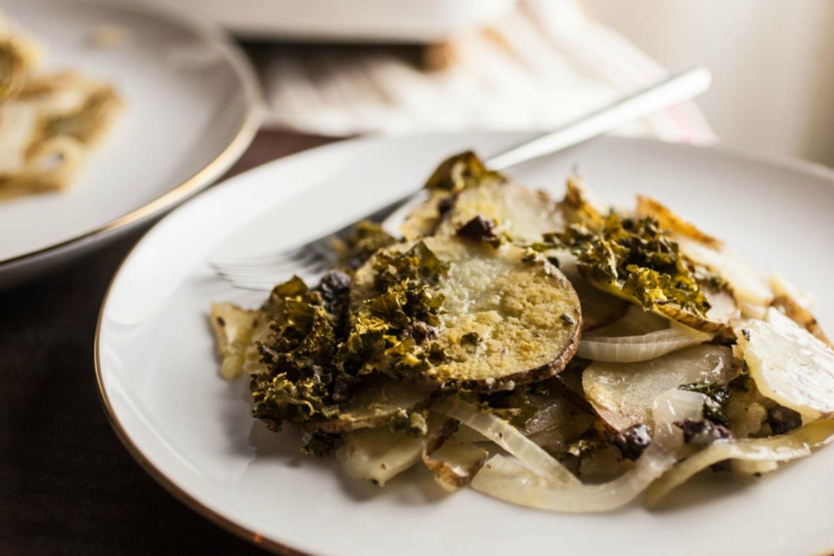 Greek Scalloped Potato Gratin [Vegan, Gluten-Free]