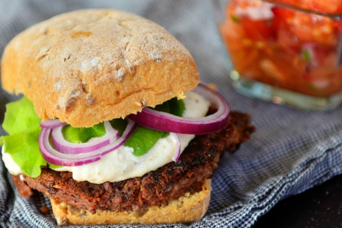 Game Day Kidney Bean and Tofu Burger [Vegan, Gluten-Free]