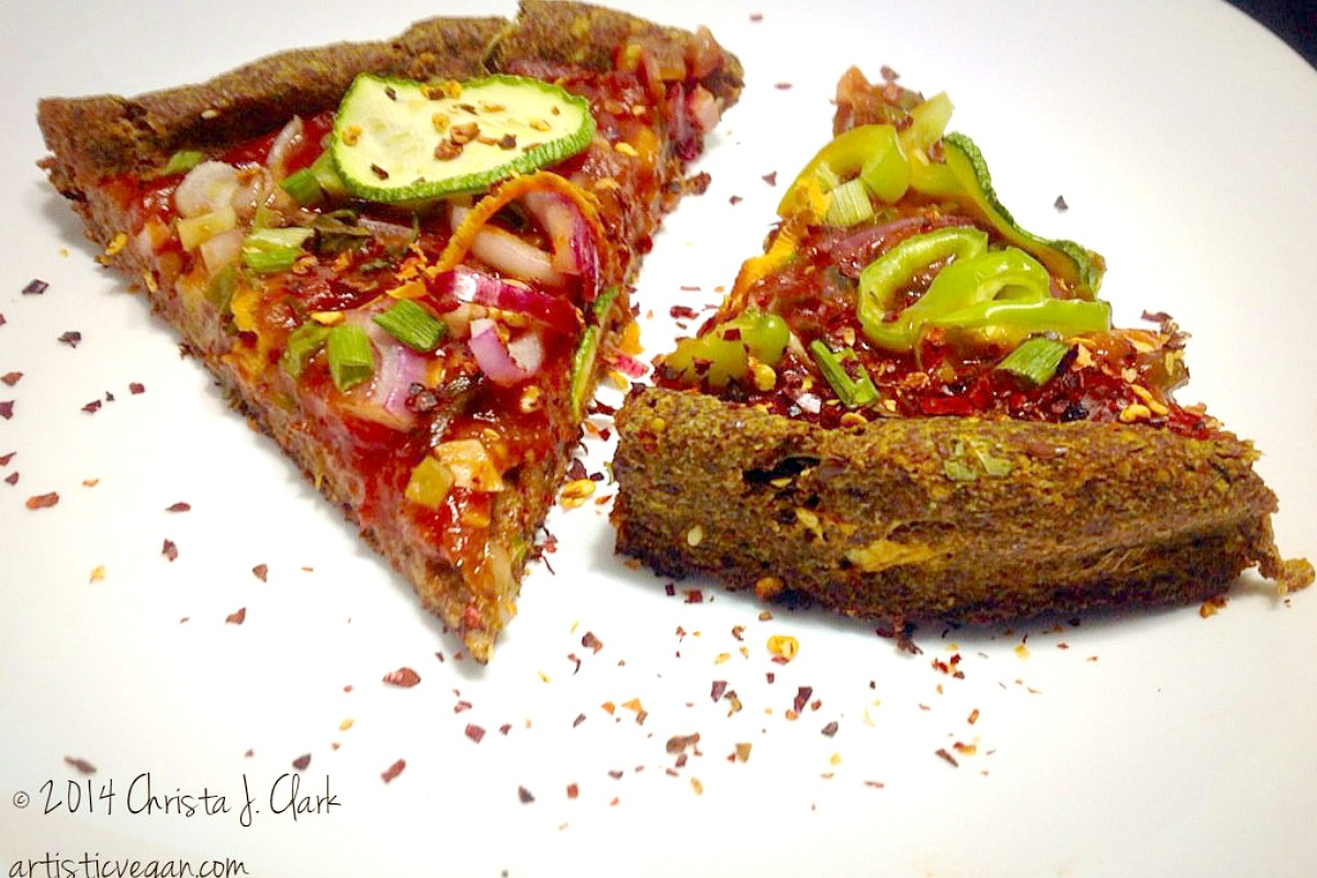 One Bowl Gluten-Free, Oil-Free Flax Meal Pizza Crust [Vegan]