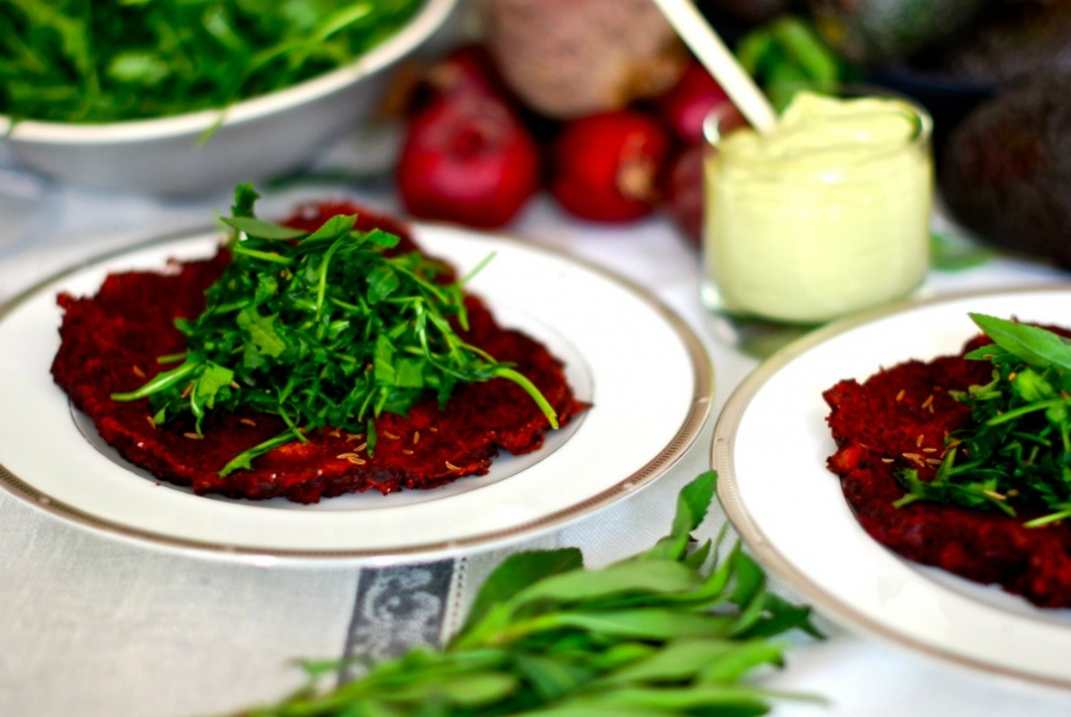 Red Beet and Zucchini Pancakes With Ruccola Tarragon Salad [Vegan, Gluten-Free]