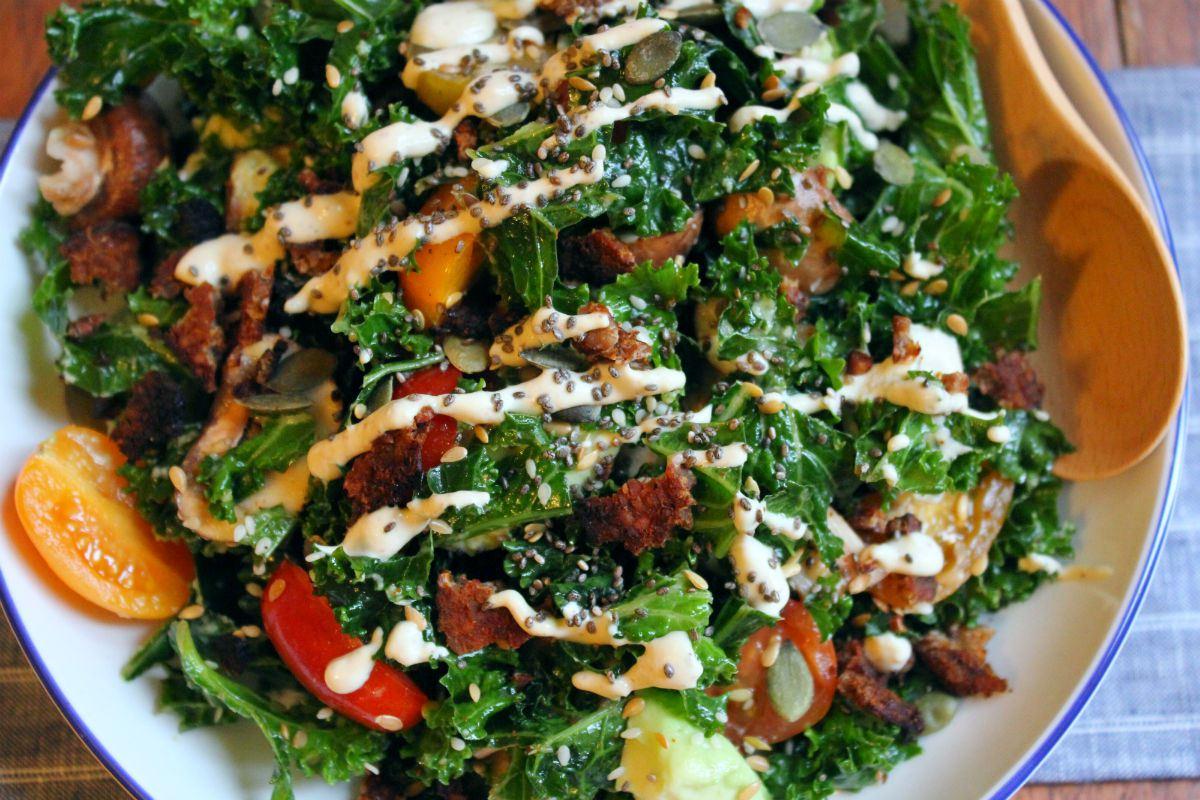 Super Protein Kale Caesar Salad [Vegan]