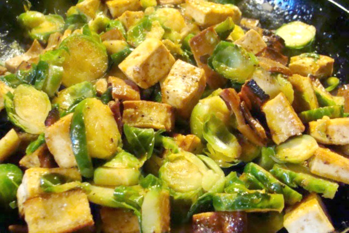 Spicy Tofu and Brussels Sprout Stir-Fry With Korean-Style Sauce [Vegan, Gluten-Free]
