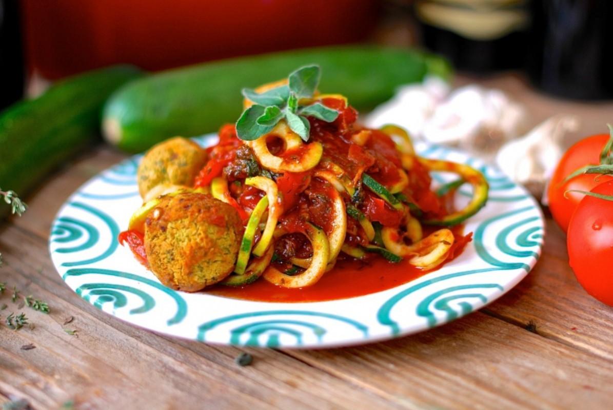 Zucchini Spaghetti, Tomato Sauce and Pumpkin Seed Cannellini Meatballs [Vegan, Gluten-Free]