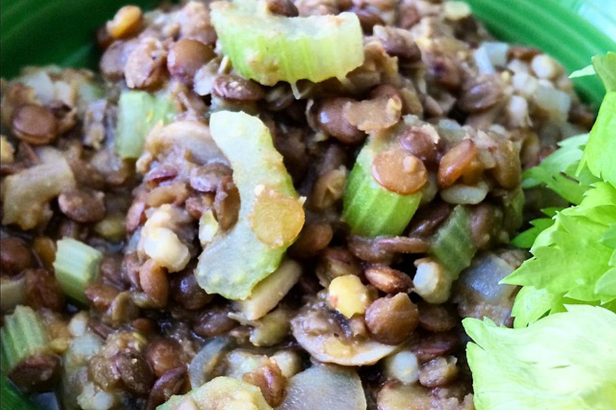 Hearty Lentil, Mushroom and Barley Mash [Vegan]