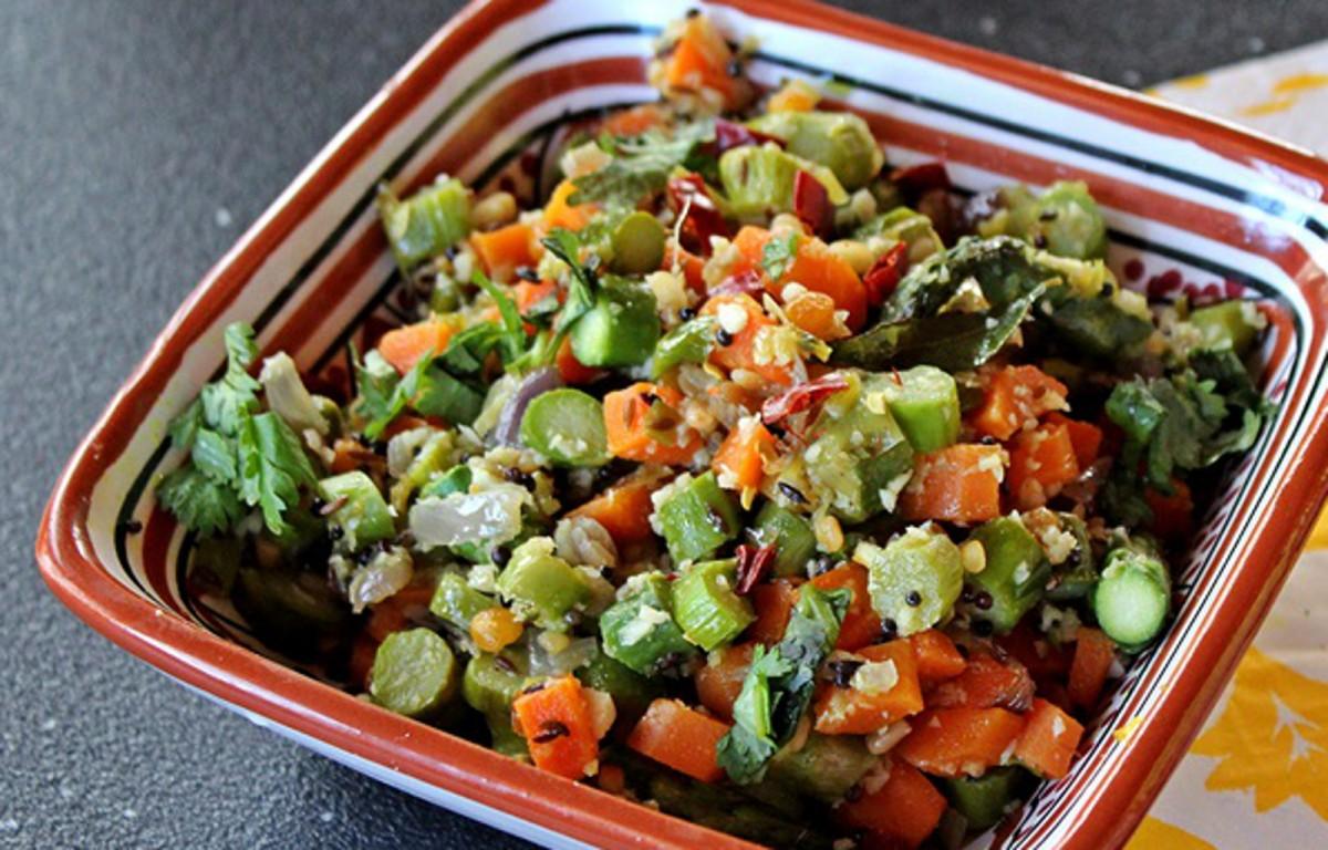 Vegan Indian Asparagus and Carrot stir fry
