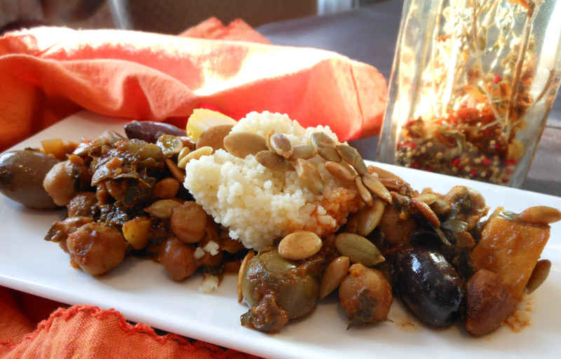 Chickpea-Sweet-Potato-Kale-Green-Olive-Dried-Fruit-and-Cashew-Tagine