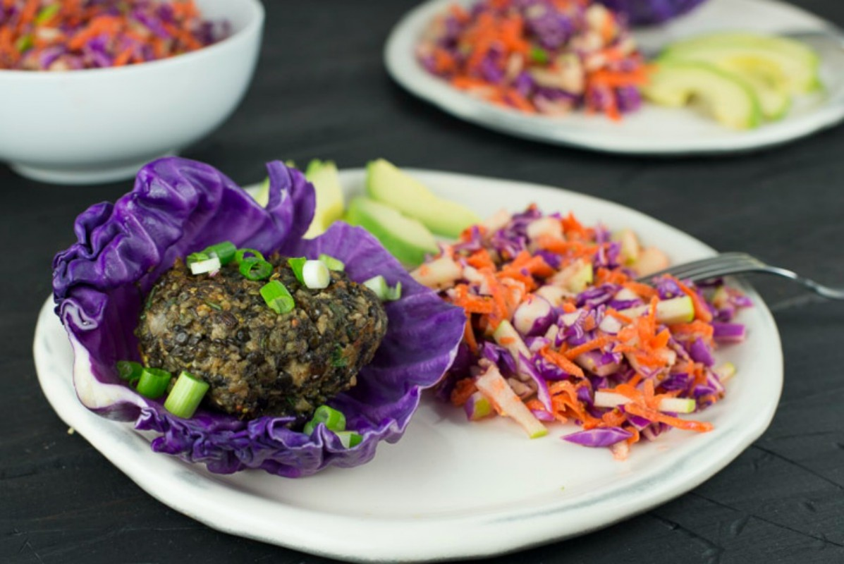 Mushroom Lentil Herb Burgers and Crisp Slaw [Vegan, Gluten-Free]