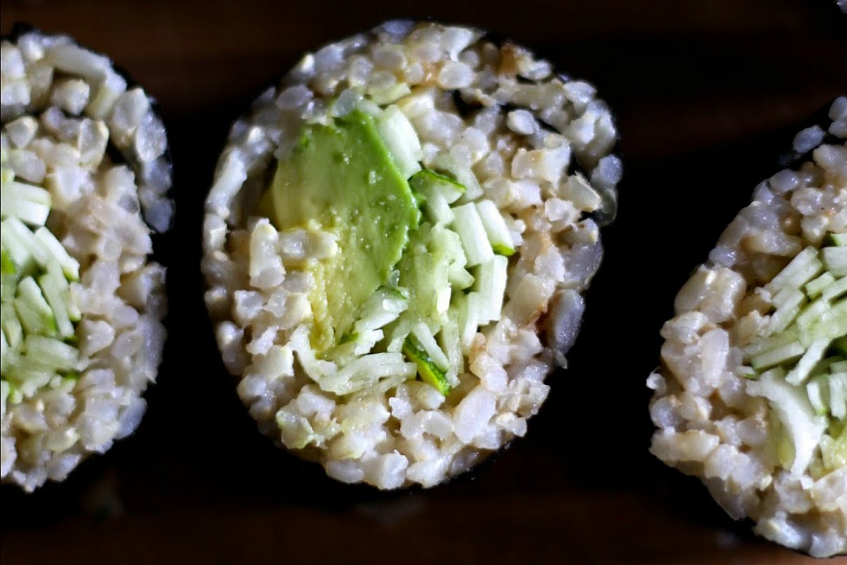 Avocado Zucchini Sushi With Brown Rice [Vegan, Gluten-Free]