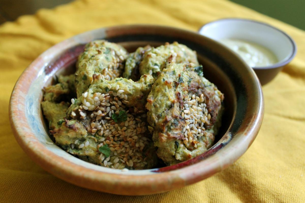Sesame Zucchini Fritters [Vegan, Gluten-Free]