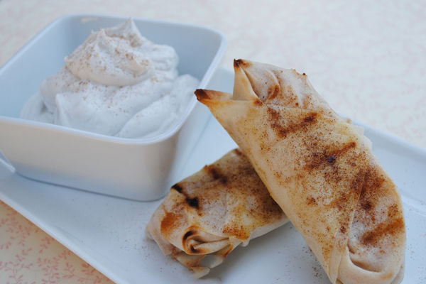 Grilled-Apple-Pie-Rolls-With-Coconut-Whipped-Cream
