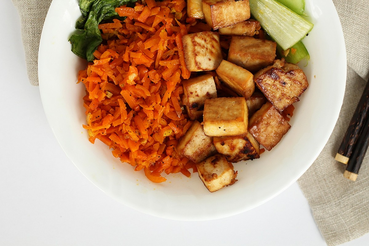 Honey-Ginger-Tofu-and-Carrot-Rice-With-Bok-Choy--1200x800