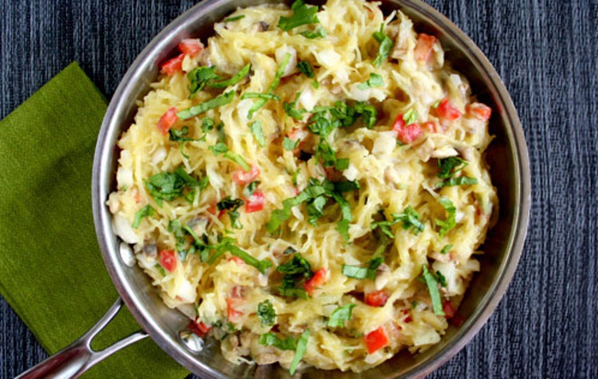 Spaghetti Squash With Basil and Creamy Cauliflower Alfredo Sauce